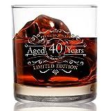 """Whiskyglas mit Aufschrift """"1981"""", Vintage-Ausgabe, zum 40. Jahrestag, 325 ml, altmodische Whiskey-Gläser für 40 Jahre altes Glas"""