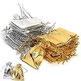 Chytaii 100 Stück Geschenkbeutel, Schmuckbeutel für Hochzeitsfeier, Geschenktüten, Süßigkeiten, Hochzeit, Silber/Gold