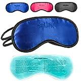 Schlafmaske mit Kühlkissen Schlaf Augenmaske Nachtmaske Schlafbrille mit verstellbarem Gummiband und Seiden-Touch Kühlpad hilft bei Migräne, Kopfschmerzen & Allergien