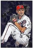 HuGuan Leinwand Malerei Bild Baseballspieler Max Scherzer Sportbild für ation for Living Room Decor Poster Wandkunst Bilder Und Drucke 23.6'x35.4'(60x90cm) Kein Rahmen