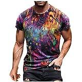 Xmiral Herren T-Shirt Trendy Kurzarm Tops Ethnischer Stil Sommer O-Ausschnitt Bunte T-Shirt Bluse(e-Lila,XXL)