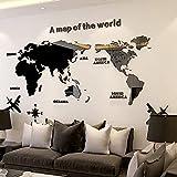Weltkarte Wandsticker,Weltkarte Wandtattoo,Wandtattoo Schlafzimmer, Weltkarte Acryl Wandaufkleber Dreidimensionale/Wandbilder 180 * 100cm Schwarz