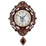 Compar Wanduhr Kamilla Uhr mit Pendel OVAL Barock Antike Quarz Glas Wohnzimmer arabische Ziffern BRAUN Gold B