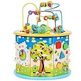 MxZas Holz Baby Kleinkind Spielzeug Early Learning Baby-Spielzeug Aus Holz Activity Center Bead Labyrinth Mit Form Sorter for Jungen Und Mädchen Kreisperlenlabyrinth.