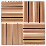 HUANGDANSP Terrassenfliesen 11 Stück WPC 30 x 30 cm 1 qm TeakholzfarbeHeimwerkerbedarf Baumaterialien Fußböden Teppichböden