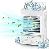 Mini Klimaanlage Mobil 4 in 1 Klimageräte Luftkühler Tragbare Verdunstungskühler mit Wasserkühlung und 3 Geschwindigkeiten, Persönlich Air Cooler Leise Tischventilator für Zuhause&Büro