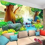 HGFHGD Selbstklebende 3D-Wandtapete Cartoon Big Tree Forest River Kinderzimmer Schlafzimmer Hintergrund Foto Tapete Dekorative Wandaufkleber Wandkunst