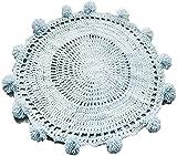 Handgewebte Wollteppich, rund, gestrickt, Fotodekoration, Dekoration, Farbe: Blau, Größe: 80 x 80 cm