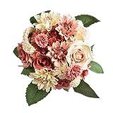 Famibay Künstliche Blumen Rose mit Gänseblümchen Dahlie Blumen für Zuhause Hochzeit Dekoration 2 Blumensträuße M