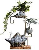 Wohngeräte Tischbrunnen Desktop-Brunnen CeramicRain Vorhang Wasser Dekorative Steinwasser Ornamente Brunnen und Metallrahmen Luftbefeuchter Elegante Dekoration Geschenke Wohnzimmer Büro Schlafzimme