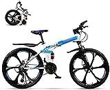 Mountainbike Faltrad für Erwachsene Student 24 Gang 26 Zoll Räder Dual Scheibenbremse Faltrad Fahrrad Klapprad Reise Outdoor Fahrrad Doppeldämpfung Rennrad Urban Bike MTB-Blue