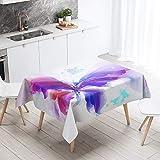 Himlaya Tischdecke Abwaschbar Wasserdicht, Tischtuch Rechteckig Wachstuchtischdecke 3D Schmetterling Drucken, Tischdecken Pflegeleicht Fleckschutz Outdoor Küche Garten Deko (Lila,140x160)