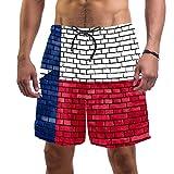 MEITD Herren Badehose mit Texas-Flagge, gemalt auf Ziegelmauer, schnell trocknend, elastischer Taillenbund mit Kordelzug Gr. S, Multi