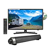 Reflexion 22 Zoll Smart Wide-Screen LED-Fernseher mit Soundbar für Wohnmobile mit DVB-T2 HD, DVD-Player, Triple-Tuner und KFZ-Adapter (12 V/24 V, Full HD, HDMI, USB, EPG, CI+, DVB-T Antenne)
