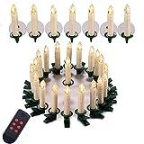 Yorbay 30er Set IP44 wasserdichte LED Weihnachtskerzen kabellos, Warmweiß Dimmbar mit Fernbedienung mit Timerfunktion als Weihnachtsdeko/für Weihnachtsbaum, Hochzeit, Partys