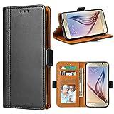Bozon Galaxy S6 Hülle, Leder Tasche Handyhülle Flip Wallet Schutzhülle für Samsung Galaxy S6 mit Ständer und Kartenfächer/Magnetverschluss (Schwarz)