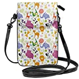 Jiger Women Small Cell Phone Purse Crossbody,Love Of Nature Theme Children Kids Pattern With Exotic Zoo Comic Characters