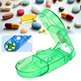 Tablettenteiler Pillenschneider Medikamententeiler, Pillenteiler Durchsichtig Kunststoff Medizin Case mit Aufbewahrung und Edelstahlklinge für Tabletten
