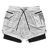 N\P Herren Doppellagige Running Sport Camouflage Shorts Fitness Training Pants Gr. XL, weiß