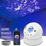 LED Sternenhimmel Projektor, Nachtlicht für Kinder Schlafzimmer Mond Sternenhimmel Wasserwellen Projektor Lampe mit Timer & APP-Steuerung, Kompatibel mit Alexa/Google Assistant