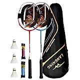 LANGNING badmintonschläger Set 2 Profi Light Heimtrainings-Set,Carbon der gesamte Schläger ist aus Kohlefaser