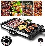 Elektrischer Haushaltsgrill Hot Pot Elektrische Grillplatte mit Antihaft-Teppanyaki-Grillpfanne Tisch-Frühstücks-Kochplatte Einstellbare Temperaturregelung für tragbare Antihaft-Grillplatte für H
