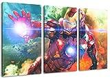 Dream-Arts Ironman Motiv, 3-teilig auf Leinwand (Gesamtformat: 120x80 cm), Hochwertiger Kunstdruck als Wandbild. Billiger als EIN Ölbild! Achtung KEIN Poster oder Plakat!