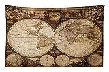 ABAKUHAUS Weltkarte Wandteppich und Tagesdecke Historische alte Atlasaus Weiches Mikrofaser Stoff 230 x 140 cm Wanddeko behang Multicolor