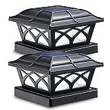 Siedinlar Solar Pfostenleuchte 2 Modus Solarlampen für Außen mit LED Lampe Wasserdicht für Garten Zaun 3,5x3,5 4,5x4,5 5,5x5,5 Hölzerne Pfäle (2 Stück)