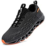 LARNMERN PLUS Laufschuhe Herren Sportschuhe Atmungsaktiv Turnschuhe Straßenlaufschuhe Sneaker Joggingschuhe Walkingschuhe Traillauf Fitness Schuhe(Grau 45)
