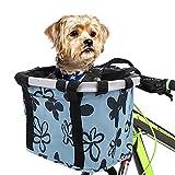 ZJING Fahrradkorb Vorne Faltbar Fahrrad Korb Abnehmbare Wasserdicht Fahrrad Lenkerkorb Tasche Aufbewahrungskorb Für Einkaufen, Pendeln, Kleine Hunde,Blau