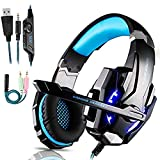 YANG1MN. Qwee Gaming-Headset for PS4, Stereo Surround Sound Gaming Headset mit Mikrofon, 3,5 mm Klinke-Kopfhörer mit LED-Licht Noise-Cancelling-Kopfhörer for PS4 / Xbox One S/Xbox One/Nintendo Swi