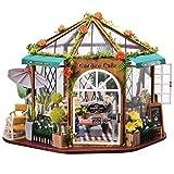 Cryfokt DIY Puppenhaus Kit, Holz Puppenhaus mit LED-Leuchten Möbel Puppenhaus Miniatur Kreativraum Mini Puppenhaus Geschenke für Mädchen Mutter Frau Tochter Freunde(#1)