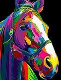Tirzah Malen nach Zahlen mit Rahmen 30 x 40 DIY Leinwand Tier Bilder für Erwachsene und Kinder Gemälde Anfänger - Neon Pferd (Gerahmte Leinwand, mit Lupe)