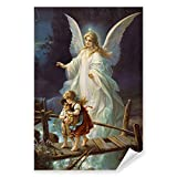Postereck - 0154 - Schutzengel, Kinder Altes Gemälde Engel Religion - Kunst Wandposter Fotoposter Bilder Wandbild Wandbilder - Poster - DIN A4-21,0 cm x 29,7 cm