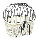 Tigana - Fahrradkorb aus Weide mit Gitter und Kissen für Lenker Weiß (Lenker 45 x 33 cm - (W-S))