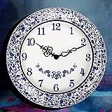 CCAN Huhn Luxuriöse Klassische Wanduhr, 18 Zoll Wohnzimmer dekorierte Wanduhr, kreative Mode blau und weiß Porzellan Kunst stumm Uhr