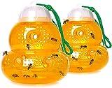 Wespenfalle 2 Stück, gelbe Jacken Wespenabwehr, Wiederverwendbare Outdoor Hängende Hornetenfalle, Bienenfalle Wespen, effektiv, sicher und natürlich