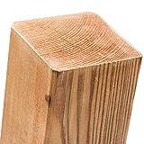Imprägnierte Holzpfosten (KDI) 7x7x180cm · Vierkant Zaunpfähle in 18 Größen aus Kiefer mit flachem Kopf (Flachkopf)