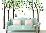 Bdecoll Birke baum wald wand aufkleber mit fly birds wandsticker für wohnzimmer/wandtattoo kinderzimmer junge,wand art decor (Brown)