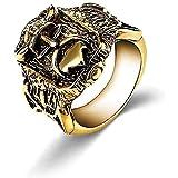 LH&BD Wikinger Edelstahl Ring Herren Nordic Schädel Krieger Biker Ringe Amulett Schmuck,Gold,9