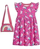 Peppa Pig Mädchen Kleider, 100% Baumwolle Baby Kleid, Peppa Wutz Einschulung Kleid Ideal für Sommer, Festliche Mädchenkleider Regenbogen Design, Einschulung Geschenk (Rosa, 2-3 Jahre)
