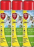 Natria Wespen Akut Spray 3-in-1 Wespenspray gegen einzelne Wespen und Wespennester mit Sprührohr, 3x400 ml Sparpack
