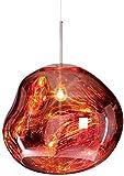 Hängelampe für Lava-Glas, modernes Design, schöne Schmelzspiegelkugel Deckenlampe, Lrregular Form Kronleuchter für Wohnzimmer Schlafzimmer Restaurant (Roségold, 28 cm)