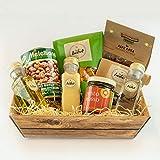 Präsentkorb Isabel`s kleiner Empfehlungskorb, gefüllt mit unterschiedlichen Delikatessen für Gourmets & Feinschmecker oder ideal zum verschenken, geschenkfertig verpackt