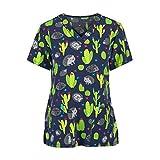 Sonojie Kasack Damen T-Shirts Bunt Pflege große größen mit Regenbogen Kaktus und Igel Motiv T-Shirt Schlupfkasack mit Taschen Kurzarm V-Ausschnitt Schlupfhemd Berufskleidung Krankenpfleger