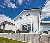 Gutta Terrassendach Premium | Tiefe 3060 mm | Weiß | Verschiedene Größen & Eindeckungen (Polycarbonat Stegplatten 16 mm weiß opal, 10140 x 3060 mm)