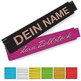 Zollstock mit Namen personalisiert - 2 Meter Holz-Gliedermaßstab mit Gravur in verschiedenen Farben - (einseitig oder zweiseitig Beschriftet)