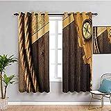 LTHCELE Blickdicht Vorhang für Schlafzimmer - Gelb Karte Kompass Seil - 3D Druckmuster Öse Thermisch isoliert - 200 x 160 cm - 90% Blickdicht Vorhang für Kinder Jungen Mädchen Spielzimmer