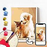 Benutzerdefinierte Malen Nach Zahlen DIY, personalisierte Bilder Ihrer Fotos, Geschenke für Familienporträts, Spielzeuggeschenke, Wohnkultur, Tierporträts, Kinder, Erwachsene (40 * 50 cm)